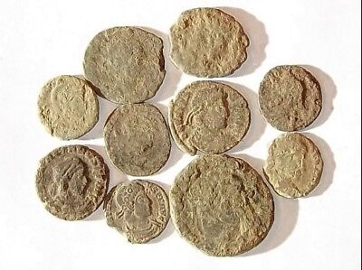 10 ANCIENT ROMAN COINS AE3 - Uncleaned and As Found! - Unique Lot 34435