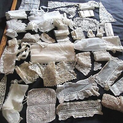 Huge Antique Lace Lot Flounce Tambour Emb Tulle Brussels Collar French Doll Trim