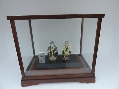 Rare Signed Japanese Sterling Silver Enamel Takasago Happy Couple Figurines