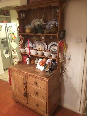 Beautiful Antique Pine Welsh dresser Three Drawers, Cupboard & Two Shelves