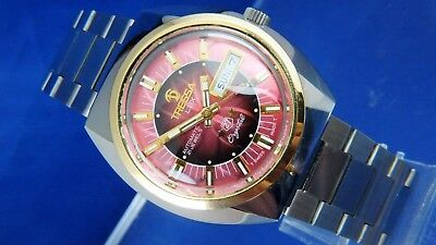 Vintage Retro Swiss Tressa Lux Crystal Automatic Watch 1970s NOS Cal AS 5206
