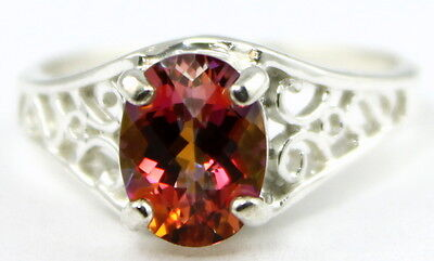 TWILIGHT FIRE TOPAZ Sterling Silver Ladies Ring -Handmade • SR005