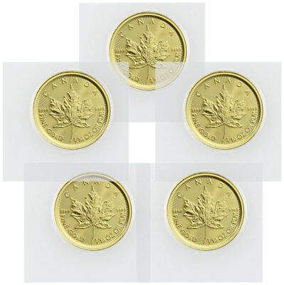 Lot of 5 2019 Canada 1/10 oz Gold Maple Leaf $5 Coins GEM BU SKU55921