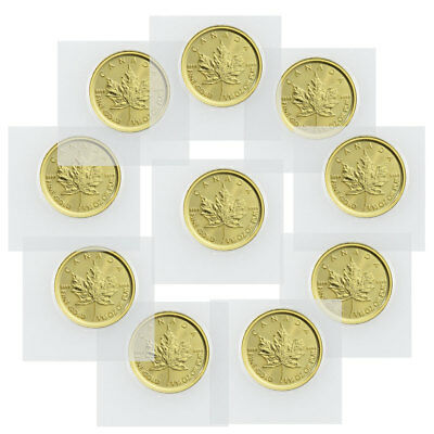 Lot of 10 2019 Canada 1/10 oz Gold Maple Leaf $5 Coins GEM BU SKU55922