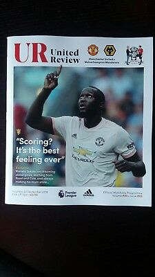 Manchester United v Wolverhampton Wanderers 22/9/2018 Official Programme BN Mint