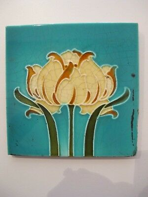 Antique Moulded Art Nouveau Tile -  Turquoise Background, Stylised  Flower