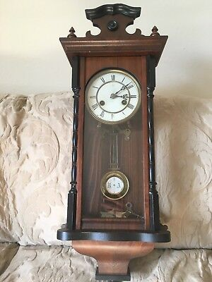 Antique Wooden Wall Clock Spring wound