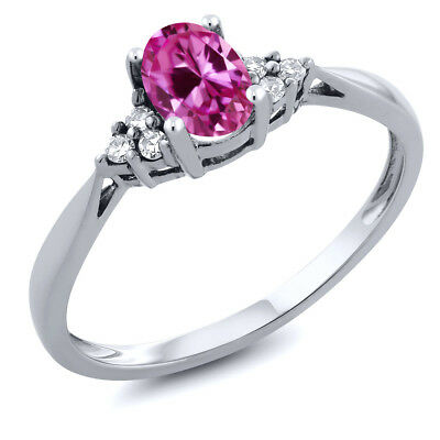Women's 14K White Gold Pink Created-Sapphire and Diamond Ring
