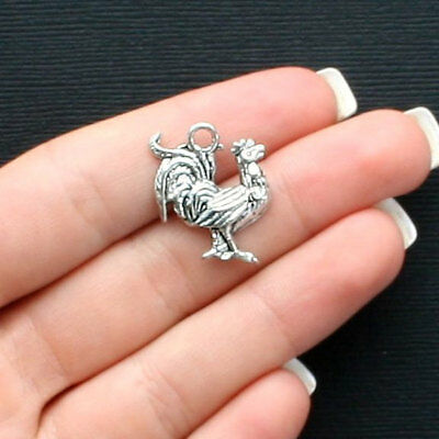 6 Rooster Charms Antique Silver Tone Good Luck Charm SC3206