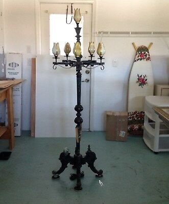 Eclectic Antique Vintage Floor Lamp Cast Metal with Wrought Iron and Tulip Bulbs