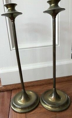 Antique Arts & Crafts Mission Copper Brass Pair Of Candlesticks Sternau Ny