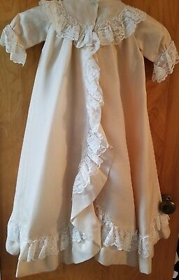 Vintage 1960s Baby Christening Gown Coat Pale Peach Lace Trimmed