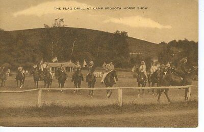 Vintage Sepia Postcard The Flag Drill At Camp Sequoya Horse Show Unposted