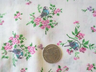 Vintage BLUE BIRDS PINK FLOWERS On IVORY 1970's Sheer COTTON Fabric-over 1 yd