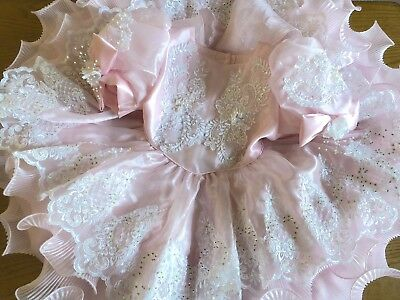 Vintage Toddler Girl's Dress Frilly Pastel Pink Ruffles Sequins Party Pageant 3T