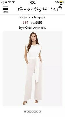 1bcbf551be4 Phase Eight Victoriana Jumpsuit Phase Eight Size 12 Pink White Wedding Races
