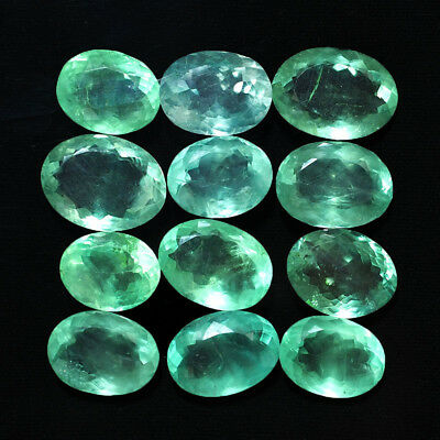 24 Pcs Untreated Natural Fluorite Sparkling Colombian Green Gems 17mm-21mm