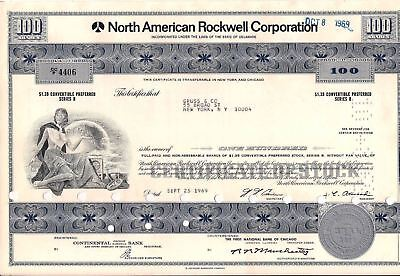 North American Rockwell Corporation stock certificate (Boeing) 100 shares 1969