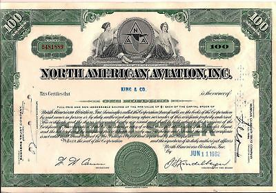 North American Aviation, Inc. stock certificate (Boeing) 100 shares