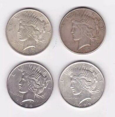 4)United States 90% Silver Peace $1 Coins ~ 1922, 1923, 1922, 1923 S
