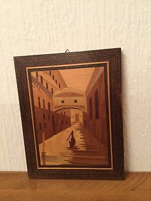 Marquetry Wooden Picture Venice Vintage 1984