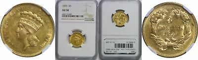 1855 $3 Gold Coin NGC AU-58