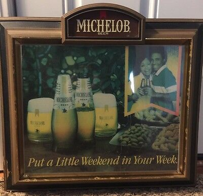 Rare Vintage Lighted Michelob Beer Black Americana Advertising Sign