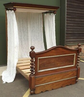 Antique Victorian Mahogany & Pine Double Half Tester Bed - Needs Some TLC