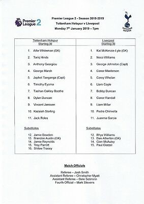 Tottenham Hotspur v Liverpool Premier League 2   7th January 2019     TEAMSHEET