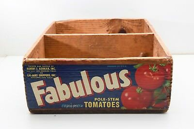 Vintage Fabulous Pole-Stem Tomatoes Wooden Dove Tail Crate