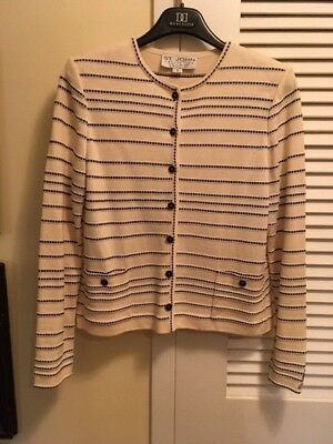 ST. John Collection by Marie Gray Cream & Black Stripe Button Sweater Size Small