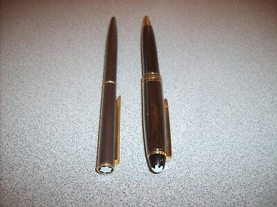 """2 Vintage Gray Montblanc Pens Meisterstuck """"Six"""" Germany"""