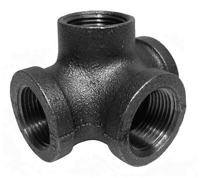 "1/2"" Inch Side Outlet Tee Black Malleable Iron Pipe Fittings Threaded - P7431"