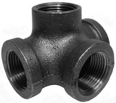 "1"" Inch Side Outlet Tee Black Malleable Iron Pipe Fittings Threaded - P7433"