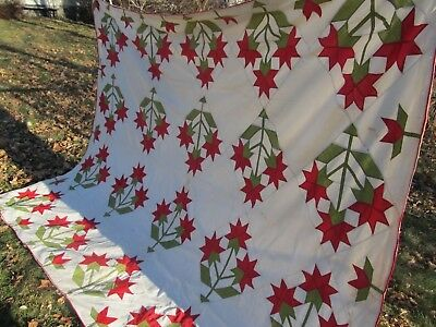 Beautiful EARLY ANTIQUE APPLIQUE QUILT / SUMMER COVERLET, c1860, Crafts, GIFT