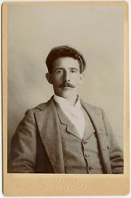 Handsome Gent Mustache Cool Hair, Gent Fashion Pretty Eyes Cabinet Card