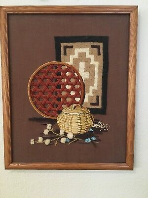 Vintage Native American Embrodiery Basket Woven Yarn Picture Wall Hanging