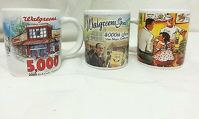 Walgreens Coffee Cup 4000th 5000th Store Commemorative Grand Opening Lot of 3