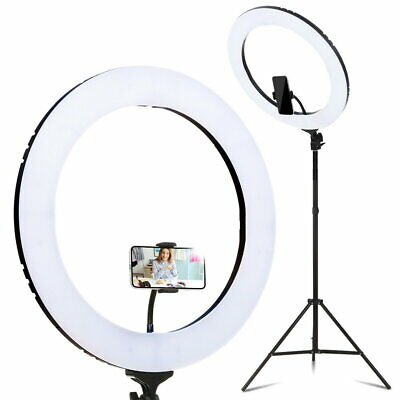 19 Inch Diffuser LED Ring Light Dim Stand Bag Mirror Studio Lighting Photography