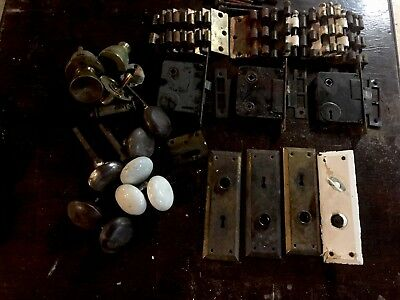 Huge Lot Of Vintage Antique Door Hardware Porcelain Knobs Locks Hinges