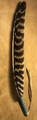 1Totally Beautiful Large Peyote Stitched Lakota Sioux Beaded Turkey Wing Feather