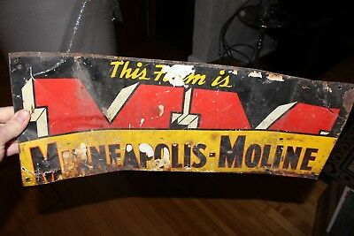 Rare CUT UP Vintage Original Metal Minneapolis Moline Tractor Operated Farm Sign