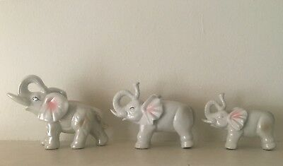 Overseas United Elephant Figurine Glossy Made in China Lot of 3