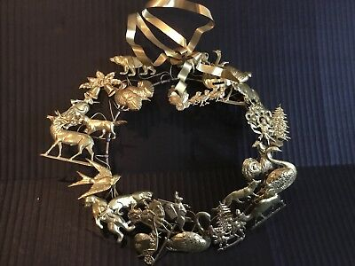Vintage Dresden Petite Choses brass All Holidays wreath 25 figures Christmas
