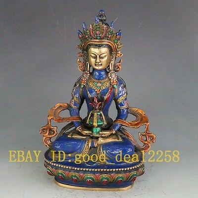 Chinese Cloisonne Handwork Carved Buddha Statue
