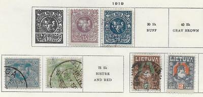 6 Lithuania Stamps from Quality Old Album 1919