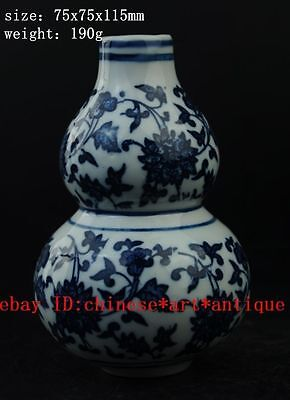 old Chinese Blue and white porcelain gourd flower bottle vase lucky statue b01
