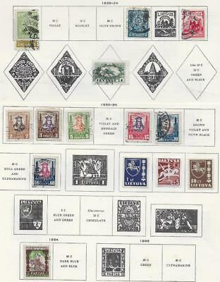 15 Lithuania Stamps from Quality Old Album 1923-1934