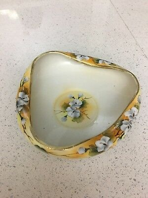 Antique Decorative Dish Bowl Hand Painted Nippon T.S TS Japan Gold Trimmed RARE