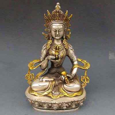 chinese old copper plating silver Gilt Buddhism Statue -- White Tara Buddha e02